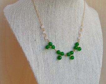 Black Friday -White Jade and Green Gold Filled Necklace. Wire Wrapped. Delicate Gold Filled Chain.