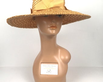 Vintage 1970s Yellow Wide Brim Sun Hat with Bows