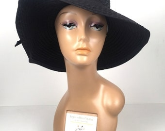 Vintage 1970s Black Slouchy Hat with Bow