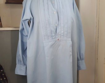 Antique French cotton man's shirt, pale blue, very good condition, festival, boho chic