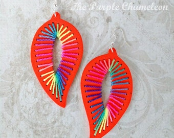 Orange Leaf Wooden Drop Earrings  Boho Tichel Accessory  Rainbow Earrings Big Wooden Earrings Lightweight Earrings African Earrings