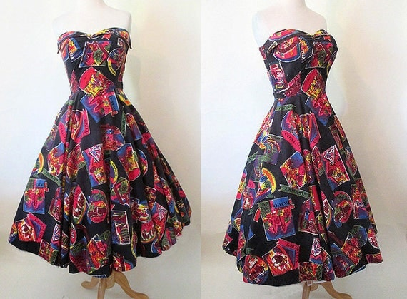 Awesome 1950's Mexican Travel Print Strapless Vintage  Sundress  VLV rockabilly pinup girl Mexicana Size Small
