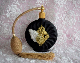 Vintage VICTORIA'S SECRET PERFUME Bottle Atomizer Gold Tassel Black Art Deco Style Hang Tag Display Cologne Heart Jewel Feather Jewel Leaf