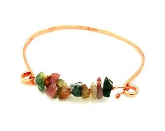 Copper Bracelet | Agate Gemstone Bracelet| Stackable Bracelet | Gemstone Bracelet | Copper Bangle |   Copper Gemstone Bracelet | Easy Open