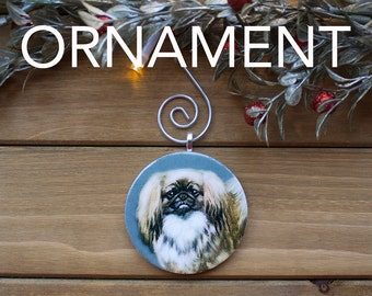 Pekingese Ornament, Tree Decoration, Tree Ornament, Vintage Ornament, Dog Gift, Christmas Gift, Stocking Stuffer, Free Shipping