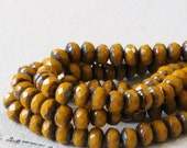 5x3mm Rondelle Beads - Czech Glass Beads - Jewelry Making Supplies - Firepolished Opaque Mustard Picasso Edges - 30 Beads Strand