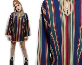 Vtg 1970s Midi Striped Bohemian Hippy Girl Festival Duster Drug Rug Poncho Mini Dress
