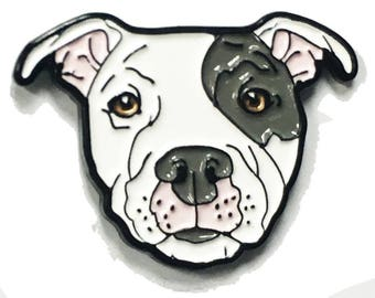 Gray Eyed White Pitbull American Bully Pit Bull Terrier Breed Dog Lover Enamel Pin