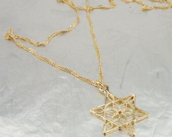 Star of David Gold filled Pendant, 14k Gold Filled Pendant, Delicate Pendant, Filigree Star of David, Gold Pendant, Wedding, Israel Jewelry