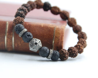 Rose Cut Diamonds, Lava Stone ,Rudraksha Beads, Sterling Silver,  Diamonds Bracelet