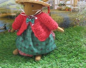Miss Apple    Lovely handmade wool felt storybook mouse with cherry red cardigan
