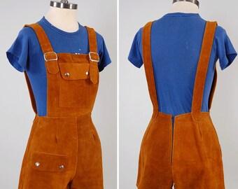 Vintage 60s 70s suede leather suspender romper / Vintage suede overalls / 60s MOD hippie romper