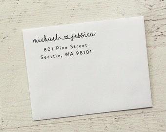 Self-Inking Address Stamp, Heart Stamp, Return Address Stamp, Custom Stamp, Personalized Stamp, Wedding Invitation Stamp - Style #57
