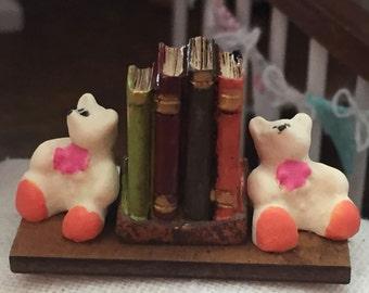 Miniature Teddy Bear Bookends With Books, Dollhouse Miniature, 1:12 Scale, Dollhouse Accessory, Decoration, Decor Item, Mini Books & Bears