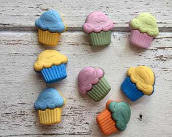 """Cupcake Buttons, Packaged Novelty Buttons """"Cupcakes"""" #4023 by Buttons Galore, Assorted Colors, Shank Back Buttons, Embellishments"""