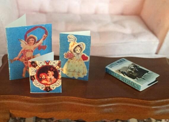 Miniature Valentine Cards, 3 Piece Set, Dollhouse Miniature, 1:12 Scale, Holiday Decor, Valentines Day Decoration Decor, Mini Cards