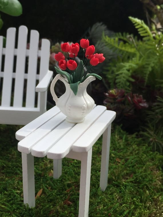 Miniature Tulips, Red Tulips In White Pitcher, Dollhouse Miniature, 1:12 Scale, Dollhouse Flowers, Miniature Flowers, Mini Tulips