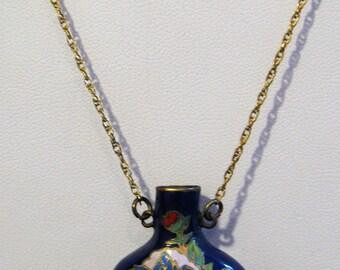 Vintage Clossoine Floral Perfume Bottle Snuff Jar on 1/20 12 K GF Chain