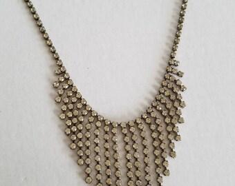 Vintage 1950s Amsel Rhinestone Fringe Choker Necklace