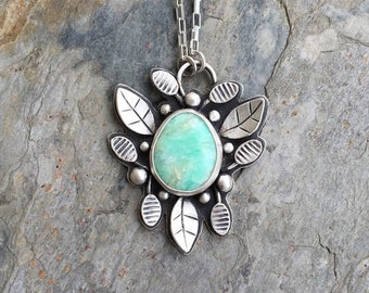 Green Opal and Fine Silver Necklace. Handmade Jewelry for Charity. NC107