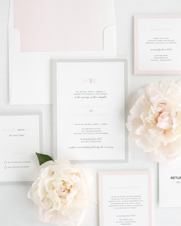 Modern Initials Wedding Invitations Deposit