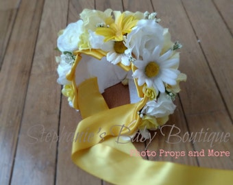 Ready to ship, 0-3 Months, Newborn Baby Girl Flower Bonnet, Floral Bonnet, Photo Prop, Garden Cap, Hat, Yellow, White, You Are My Sunshine