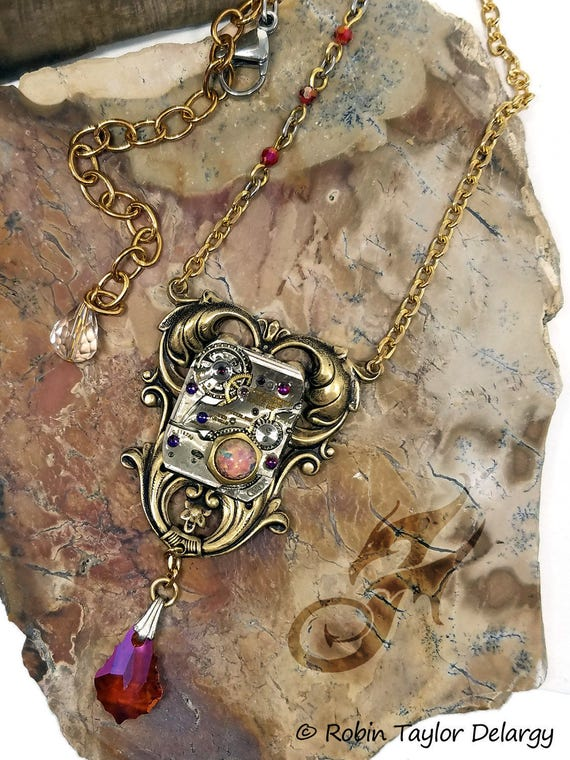 Romantic Victorian Steampunk Necklace, Watch Movement Necklace, Mixed Metal, Brass Chain, Fire Opal & Volcano Rhinestones/Beads, #N0681