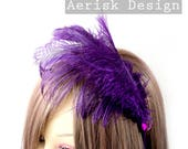 Royal Purple Ostrich feather fascinator (5 fastener, 5 color option) Ameline headband,mardi gras,kentucky derby,carnivale,vegas bachelorette