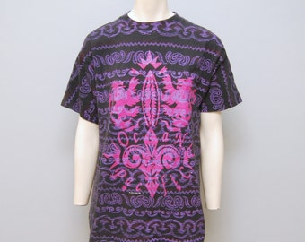 Vintage 1991 Ocean Pacific OP T-Shirt Black Pink and Purple Shirt Surfer Tshirt Patterned Beach Tee Size Medium M Skater 90's