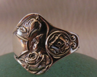 Rose Spoon Ring  Antique Sterling Silver  Size 8.5