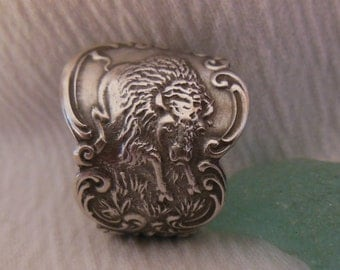 American Buffalo  Antique Spoon Ring  Sterling Silver Size 9.5
