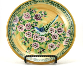 Decorative Plate - Yellow Porcelain Serving Platter - Handmade Lunch Plate with Purple Floral Design and Bird