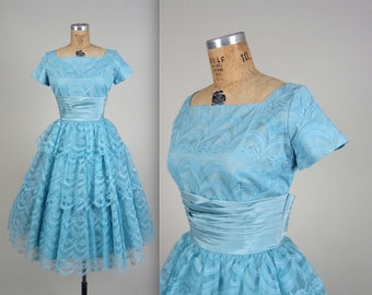 1950s cupcake prom dress • vintage 50s dress • lace party dress