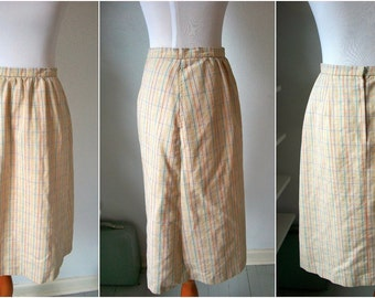 Khaki & RAINBOW plaid linen midi skirt - by Catalina - made in USA