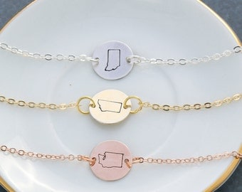 Single State Necklace • Texas Necklace Tiny State Charm • QQQ •Rose Gold State State Jewelry • Handstamped State Outline Friend Gift