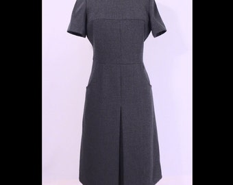 Vintage Nina Ricci Boutique 1960s Dress Tailored Heather Gray Wool 60s Dress M L