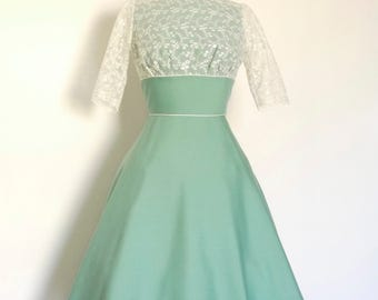 Dusky Mint & Lace Tiffany Swing Dress- Made by Dig For Victory