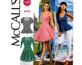 McCall's 6754 Stretch Dress & Peplum Top Pattern Sizes 4 6 8 10 12 14 UNCUT Factory Folded