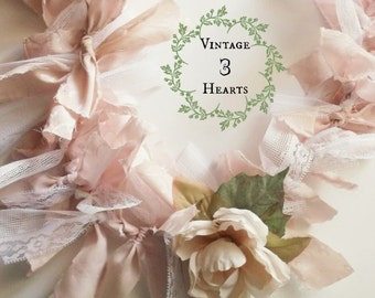 Tattered Pink Bow Garland. Valentine Inspired Fabric Banner. Shabby Chic Romantic - Cottage- Wedding - Photo Prop