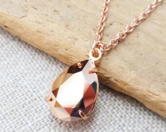 Rose Gold Swarovski Crystal Necklace, Rhinestone Metallic Rose Gold Teardrop Pendant, Bridesmaid Gifts, Bridal Jewelry, Gift for Her