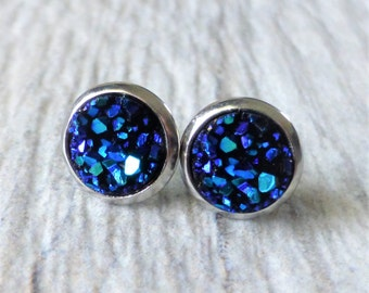 Bermuda Blue Druzy Stud Earrings, Faux Drusy Posts, Teal Purple Blue, 10mm Round Stainless Steel Studs, Gift For Her, Small Dainty Studs