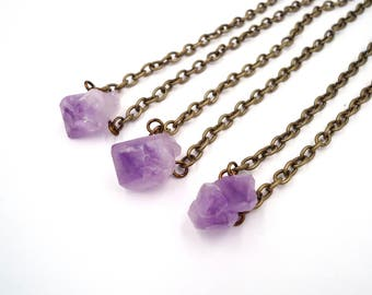 Rough Amethyst - Raw Crystal Necklace - Dainty Choker - Choker Layered - Boho Layered Choker - Hippie Jewelry Ideas - Gold Gemstone Choker