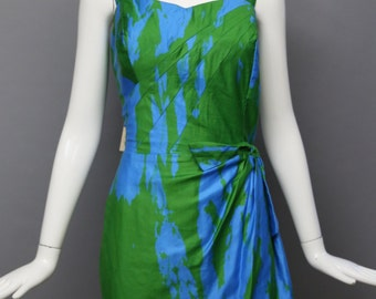 50s RUBY of MIAMI tiki tropical hawaii wrap over sarong w/ under bloomers cotton print DRESS fits large