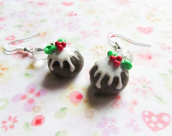 Christmas Pudding Earrings, Christmas Earring, Cake, Dessert, Food Earrings, Christmas, Polymer Clay, Food Jewelry