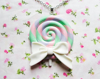 Candy Lollipop Necklace with Big White Bow, Candy Necklace, Cute Necklace, Kawaii Necklace, Food Necklace, Sweet Lolita, Lollipop