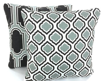 Grey Black Pillow Covers, Decorative Throw Pillows Cushion Covers Cool Gray White Fargo Curtis Grey Couch Bed Sofa Set of Two Various Sizes