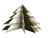 Paper Tree Ornament - Repurposed Vintage Sheet Music and Reclaimed File Folders - Green - Music Lover's Gift - Xmas Tree Decor