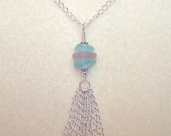 Genuine Sea Glass Necklace 18 Inch Silver Chain Tassel Pendant Soft Pastel Beach Glass Jewelry Canada Unique Necklaces for Women or Teens