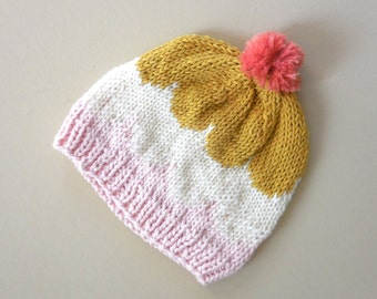 ICE CREAM Scoop Scalloped Pom Pom Hat Knit Winter Stocking Cap Beanie Girl Infant Baby Ribbed Knitted Pink Gold Ivory 6 9 12 Twin
