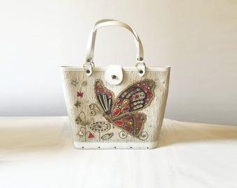Vintage jeweled purse, vintage handbag, butterfly, vintage box bag, 1960s box purse, bucket bag, wooden purse, rhinestones, 1960s handbag,